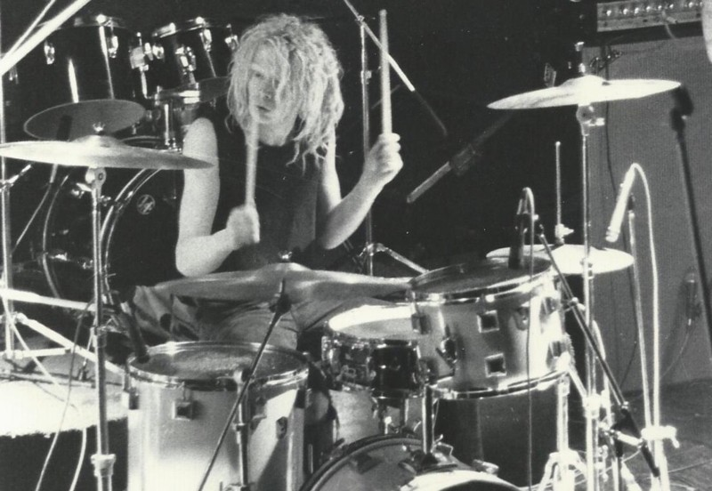 Wiff live, with pink Eddie Ryan drumkit, on the Sex Gang Children tour. Glasgow Night Moves 9th May 1983