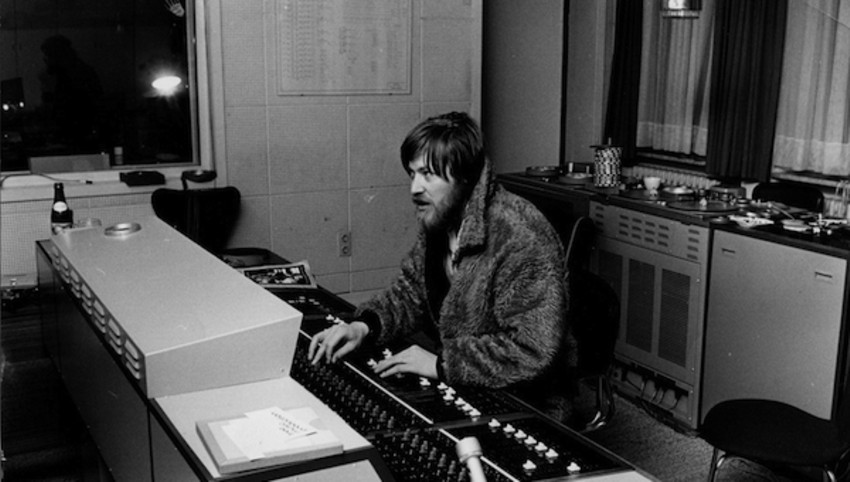 Conny Plank, German production genius, at home behind the mixing desk.