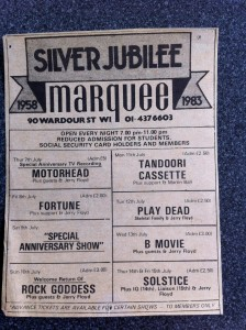 London Marquee Flyer 1983